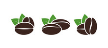 Coffee Beans Logo. Isolated Coffe Beans On White Background