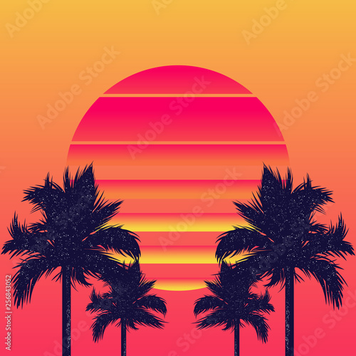 Fotografia  Retrowave sun and palm trees