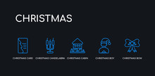 5 Outline Stroke Blue Christmas Bow, Christmas Boy, Christmas Cabin, Candelabra, Card Icons From Collection On Black Background. Line Editable Linear Thin Icons.