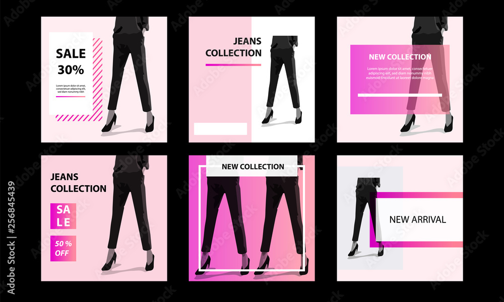 Fototapety, obrazy: Six Square modern futuristic banner template pack. Minimal pink vibrant duotone in white background. For social media post, internet web banner, flyer, poster and catalog in cosmetic, beauty, fashion
