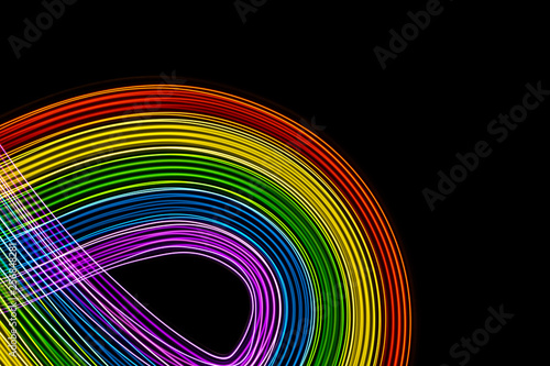 canvas print motiv - Horacio Selva : Rainbow of vibrant colors on black curves. Space to write.