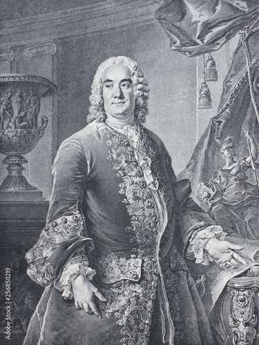 Old engraving of man of 18th century in suit from a vintage book Madame de Pomadour by E. de Goncourt, 1888 Wall mural