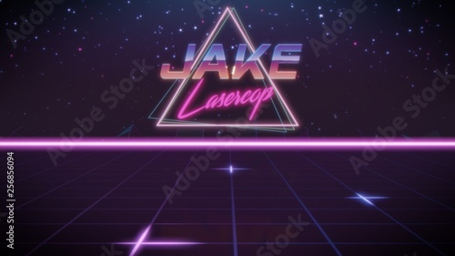 first name Jake in synthwave style Wallpaper Mural