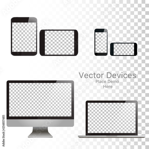 Pinturas sobre lienzo  Set realistic vector devices on a isolated white background