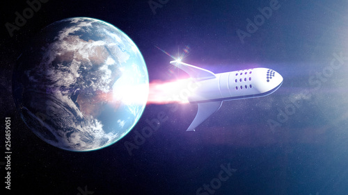 Fotografía  Concept spaceship  for space tourism around heart and Moon - 3D rendering - Elem
