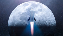 Rocket Over Half Moon- Concept Of A Spaceship For Space Tourism -   3D Rendering