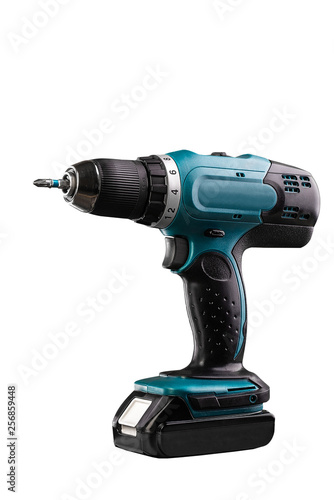 Fotografia  Cordless screwdriver on white background. Space for text