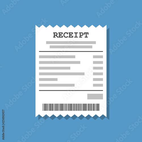 Cuadros en Lienzo paper receipt, flat vector illustration