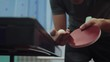 table tennis serve concept. slow motion video. blurred focus lifestyle on the grid. man playing training serve ball in table tennis the sport active