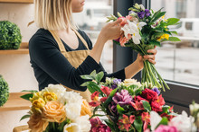 Cropped View Of Florist In Apr...