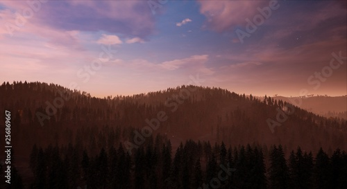 Poster Morning with fog Landscape - View of a forest with a mountain in the background at day