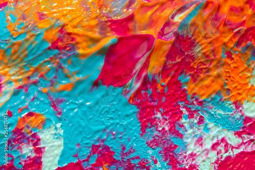 Fotografie, Obraz  Pink Blue and Orange Paint Splatters on White Background