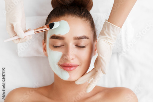 Beautician applying clay face mask on woman face Canvas Print