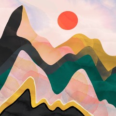 Panel Szklany Góry Abstract mountains and red sun. Hand drawn colorful illustration
