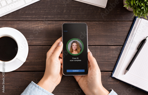 Face Identification with software scanning face on smartphone Wallpaper Mural