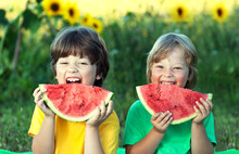 Happy Child Eating Watermelon ...