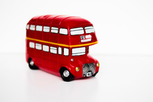 Red Double Decker Bus Souvenir On A White Background