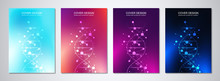 Vector Template For Cover Or Brochure, With Molecules Background And DNA Strand. Medical Or Scientific And Technological Concept.