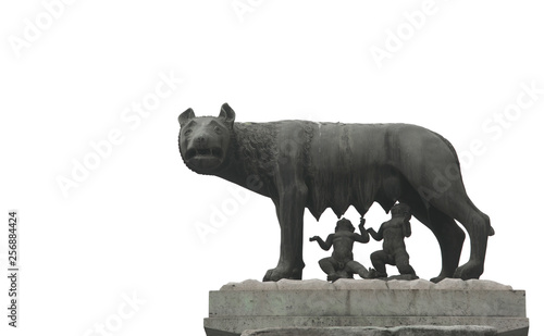 Obraz na plátne  Capitoline Wolf is a symbol of Rome in Italy with she wolf and R