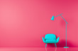 canvas print picture - Chair in colored background wall in open space with morden lamp. Mock up. 3D render