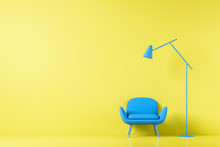 Chair In Colored Background Wall In Open Space With Morden Lamp. Mock Up. 3D Render