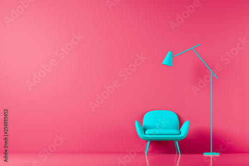 canvas print motiv - denisismagilov : Chair in colored background wall in open space with morden lamp. Mock up. 3D render