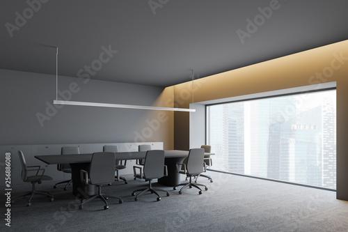 Stickers pour porte Pierre, Sable Modern dark office interior with work space. 3D render