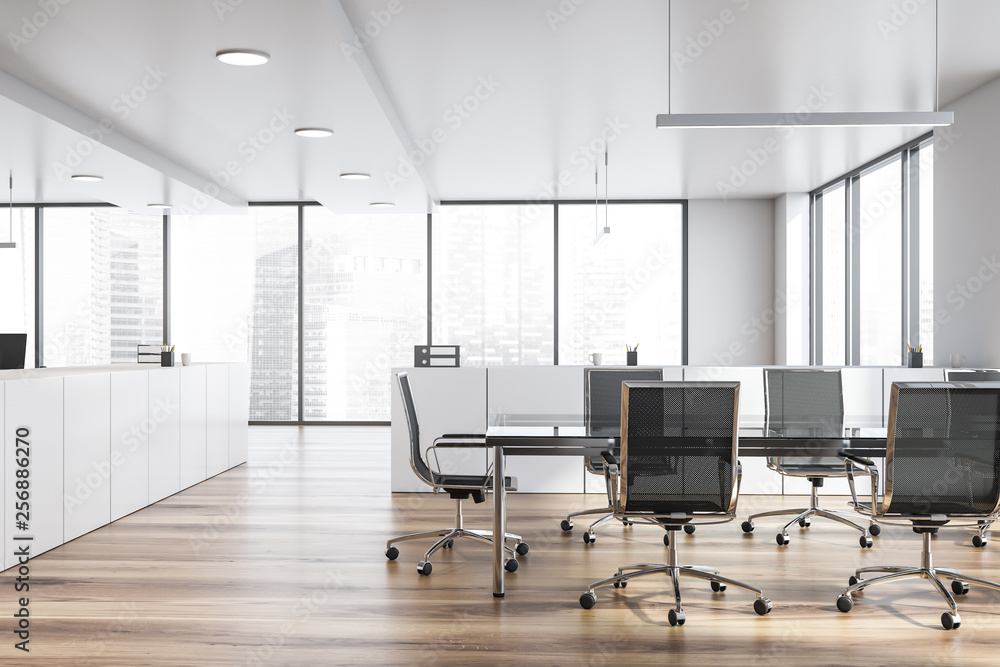 Fototapeta Modern white empty office interior with board table. 3D render.