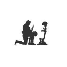 Isolated Silhouette Of Soldier Kneeling At Military War Memorial Of Fallen Soldier With Helmet Gun And Rifle In Combat Boots