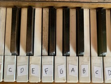 Vintage Piano Keys With Letter Labels