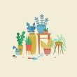 Urban jungle, replanting, gardening concept.