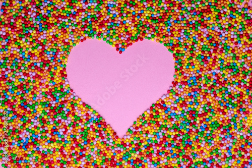 Poster Pixel Pink heart shape formed with hundreds and thousands