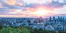 Beautiful Sky And Sunrise Light Over Montreal City In The Morning Time. Amazing View From Mont-Royal With Colorful Blue Architecture. Stunning Panorama Of Montreal Downtown With Business Buildings.