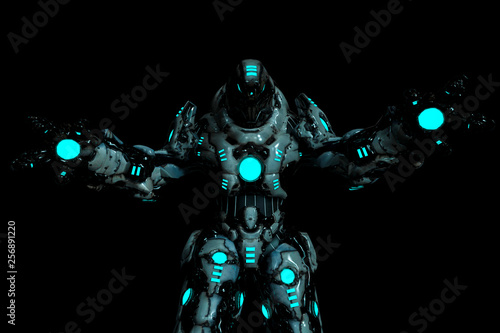 Fotomural predator black and blue glowing robot in a dark background with wide arms open