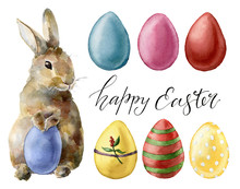 Watercolor Easter Rabbit And Eggs Set. Holiday Collection With Bunny And Colored Eggs Isolated On White Background. Nature Illustration For Design Or Fabric.
