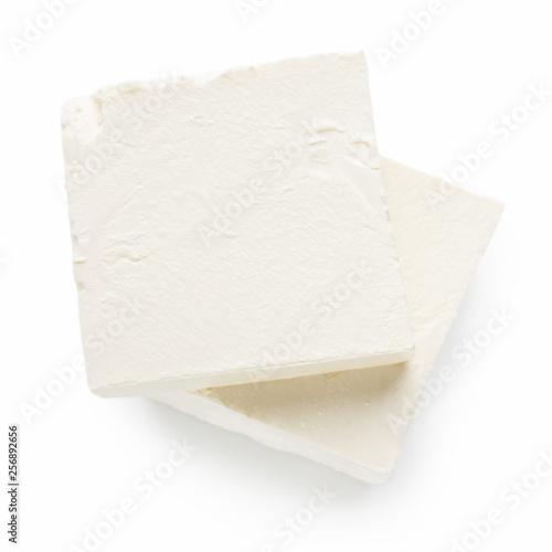 Fototapeta Pieces of Feta cheese on white obraz