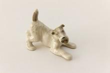 Ceramic Dog Figure Isolated On White Background