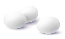 Three White Eggs Isolated