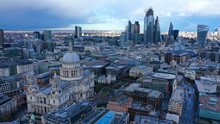 Aerial Drone Photo Of Iconic Saint Paul Landmark Cathedral In The Heart Of City Financial District Of London, United Kingdom