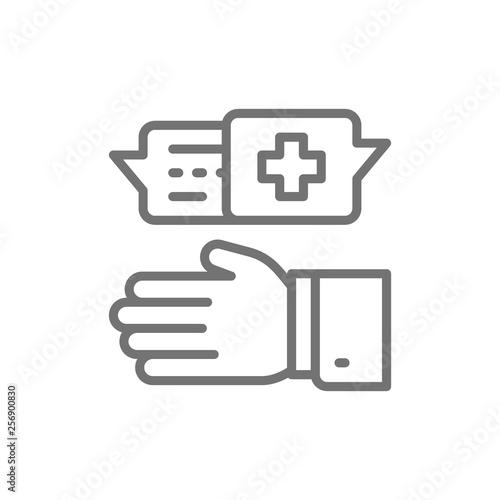 Doctor prescribes medicine, medical specialist prescribe treatment line icon Canvas-taulu