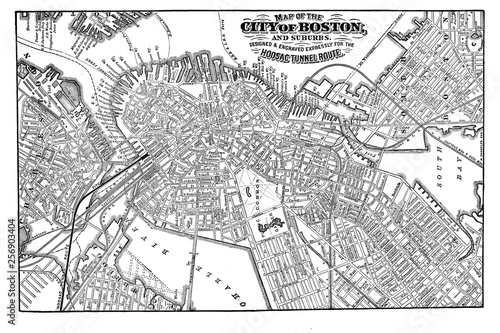 Boston city. Engraving illustration