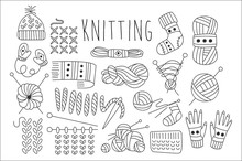 Hand Drawn Vector Set Of Icons For Knitting Related Theme. Yarn, Stitch, Needles, Knitted Clothing. Graphic Elements For Logo For Hand Made Things
