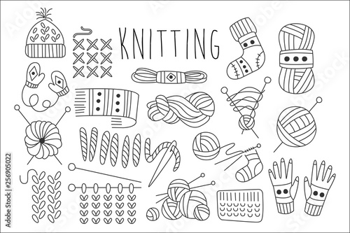 Fotomural Hand drawn vector set of icons for knitting related theme