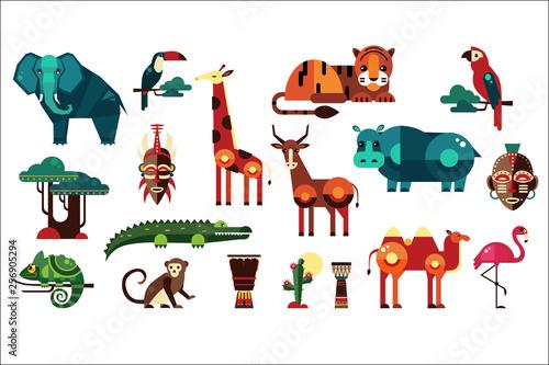 Kolorowe wektor zbiory różnych afrykańskich zwierząt, roślin i bębnów. Dzikie stworzenia z dżungli. Ptaki i gady. Etniczne bębny. Ikony w geometrycznym stylu płaskiego