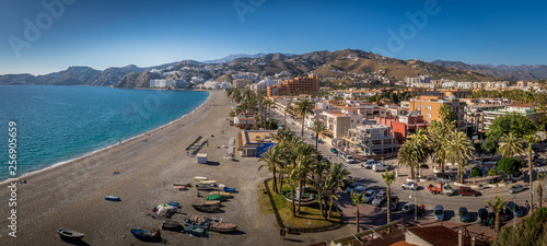 Foto op Aluminium Tunesië Almunecar aerial panorama of popular Spanish beach town with medieval castle in Andalusia Spain
