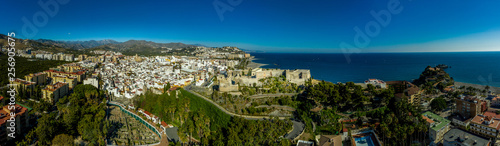 Cuadros en Lienzo Almunecar aerial panorama of popular Spanish beach town with medieval castle in