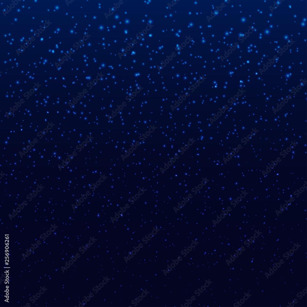 Fototapeta Blue dark sky with stars or snowflakes beauty wallpaper pattern holiday EPS 10