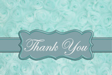Thank You Message On Pale Teal...