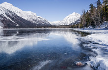 Montana Lake In Winter:  Snow ...