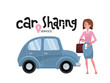 Online carsharing. Woman book car by app on mobile phone. Transportation service online. Travel concept. Lettering car sharing service.Happy person in front of the car.Vector flat cartoon illustration
